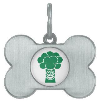 Funny broccoli face pet tag