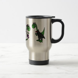 Funny Brontosaurus Wedding Art Travel Mug
