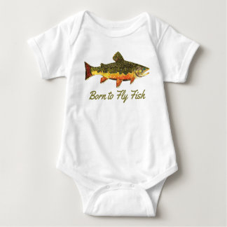 """Funny Brook Trout """"Born to Fly Fish"""" Baby Bodysuit"""
