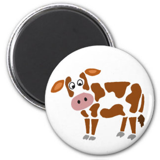 Funny Brown and White Cow Art 2 Inch Round Magnet