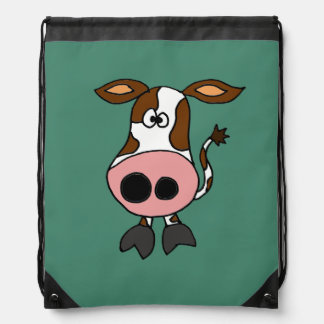 Funny Brown and White Cow Cartoon Cinch Bags