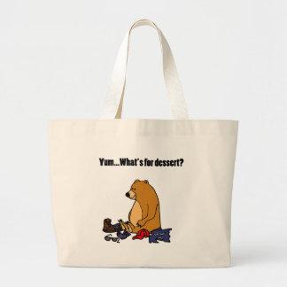 Funny Brown Bear Eating Hiker Cartoon Large Tote Bag