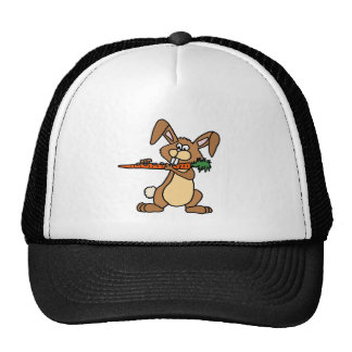 Funny Brown Rabbit Playing Flute Carrot Trucker Hat