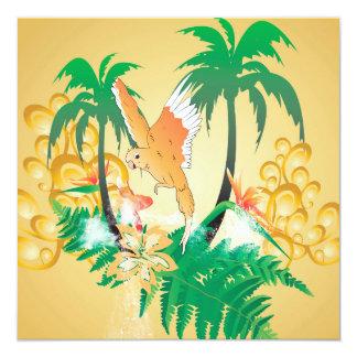 """Funny budgerigars 5.25"""" square invitation card"""