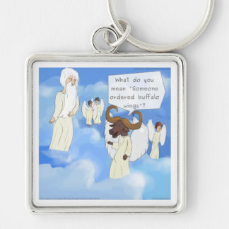 Funny Buffalo Wings In Heaven Gift Silver-Colored Square Keychain