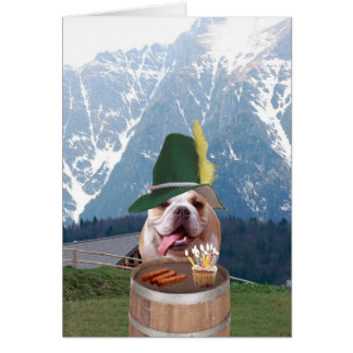 Funny Bull Dog German Birthday Card