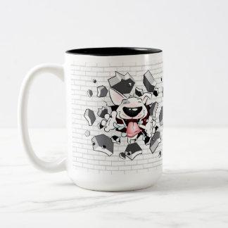"""Funny Bull Terrier Cartoon """"Break through"""" Mug"""