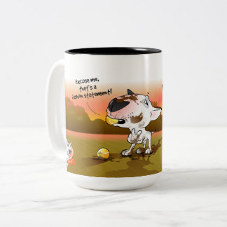 "Funny Bull Terrier Cartoon Mug ""Fashion Statement"""