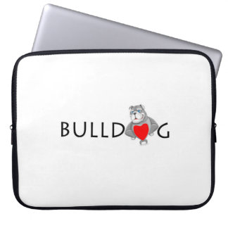 Funny Bulldog Cartoon Love Red Heart Laptop Sleeve