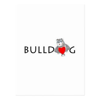 Funny Bulldog Cartoon Love Red Heart Postcard