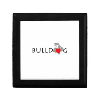 Funny Bulldog Cartoon Love Red Heart Trinket Boxes