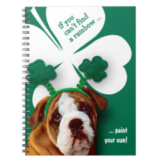 Funny Bulldog. St. Patrick's Day Fun Gift Notebook