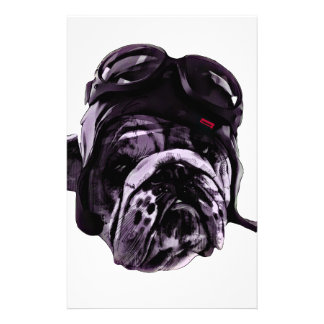 Funny Bulldog with Glasses Stationery Design