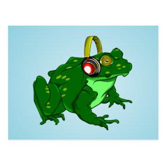 Funny Bullfrog Wearing Headphones Postcard