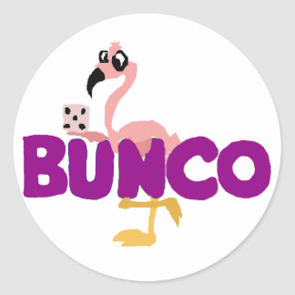 Funny Bunco Dice Game and Pink Flamingo Classic Round Sticker