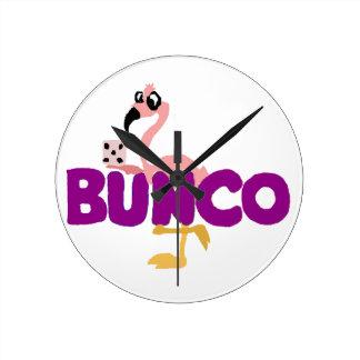 Funny Bunco Dice Game and Pink Flamingo Wall Clocks