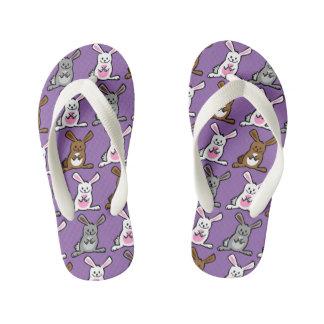 Funny bunnies kid's flip flops