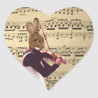 Funny bunny rabbit violinist heart sticker