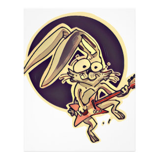 funny bunny sweet rabbit playing guitar cartoon letterhead