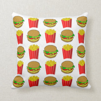 Funny Burgers and Frenchfries Throw Pillow