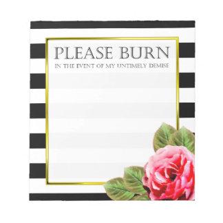 Funny Burn It When I Die Please For Women Notepad