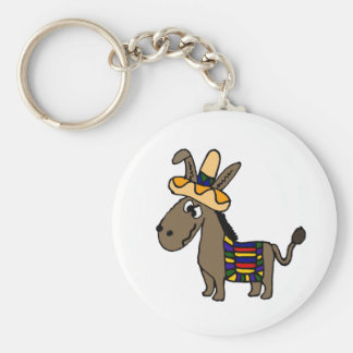 Funny Burro with Sombrero and Blanket Keychain