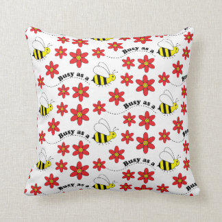 Funny Busy Little Bumble Bee Pattern Cute Throw Pillow