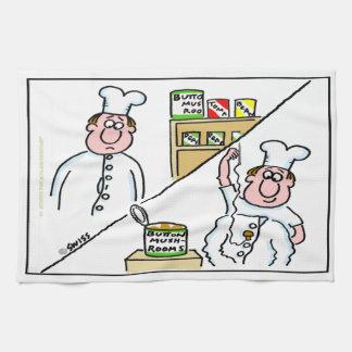 Funny Button Mushroom Chef Cartoon Kitchen Towel