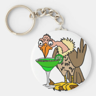 Funny Buzzard or Vulture Drinking Margarita Basic Round Button Keychain
