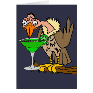 Funny Buzzard or Vulture Drinking Margarita Card