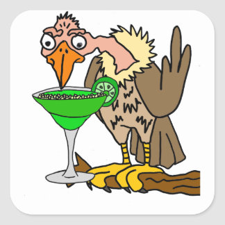 Funny Buzzard or Vulture Drinking Margarita Square Sticker