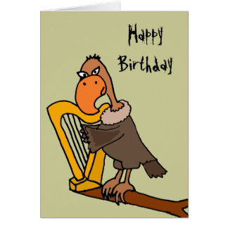 Funny Buzzard Playing Harp Design Card