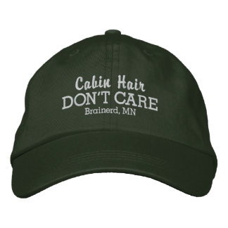 Funny Cabin Hair Don't Care Custom Town/Lake Name Embroidered Baseball Cap