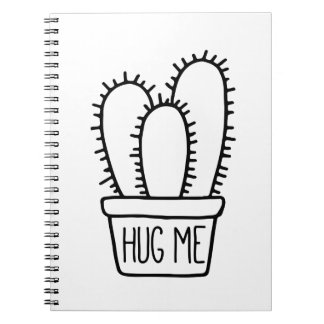 Funny Cactus Quote Hug Me School Notebooks