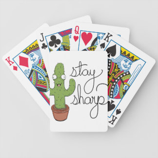 Funny Cactus Stay Sharp Character Bicycle Playing Cards