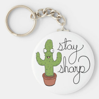 Funny Cactus Stay Sharp Character Keychain