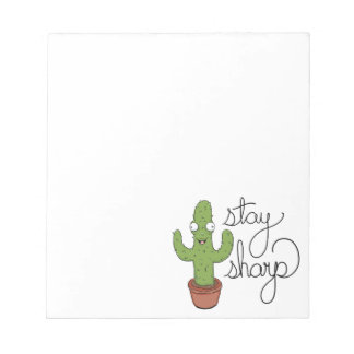 Funny Cactus Stay Sharp Character Notepad