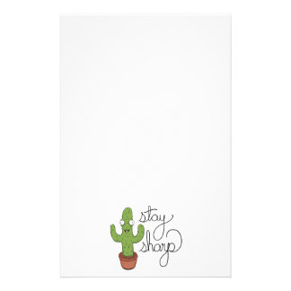 Funny Cactus Stay Sharp Character Stationery