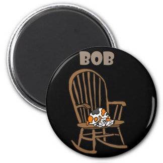 Funny Calico Cat in Rocking Chair 2 Inch Round Magnet