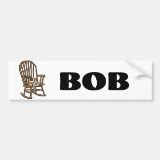 Funny Calico Cat in Rocking Chair Bumper Sticker