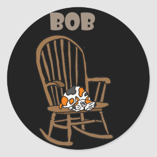 Funny Calico Cat in Rocking Chair Classic Round Sticker