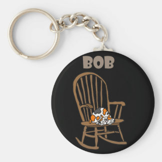 Funny Calico Cat in Rocking Chair Keychain