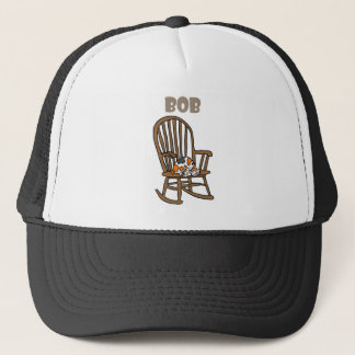Funny Calico Cat in Rocking Chair Trucker Hat