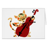 Funny Calico Cat Playing Cello Art Cartoon Greeting Card