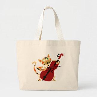 Funny Calico Cat Playing Cello Art Cartoon Jumbo Tote Bag