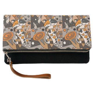 Funny Calico Cat Playing Saxophone Abstract Clutch