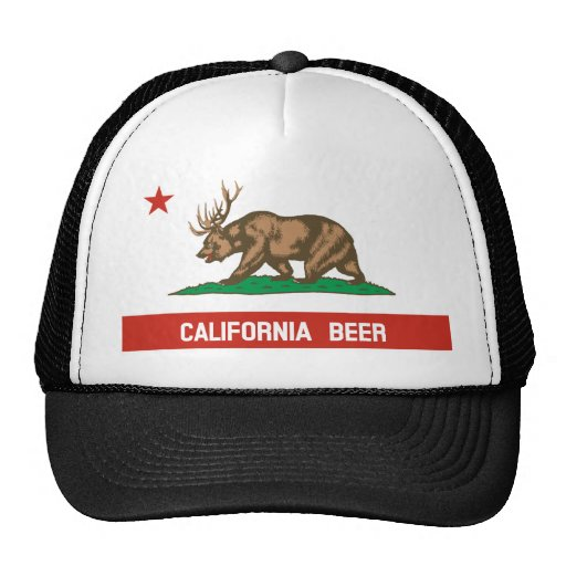 Funny California Beer State Flag Trucker Hat