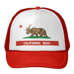 Funny California Beer State Flag Trucker Hat (red)