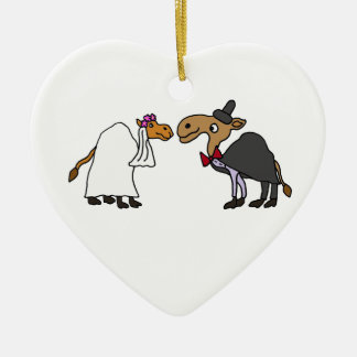 Funny Camel Bride and Groom Wedding Cartoon Ceramic Ornament