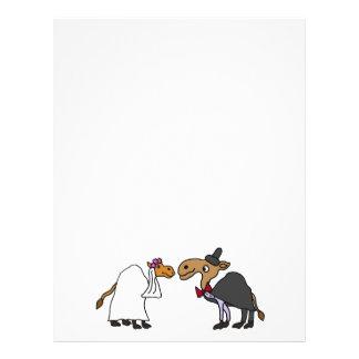 Funny Camel Bride and Groom Wedding Cartoon Letterhead Design